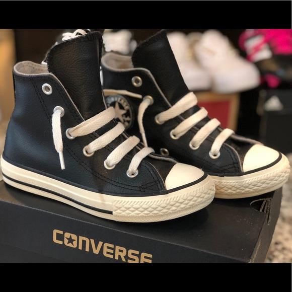 b185b98db8d9 Converse Other - Girls Black Leather Converses